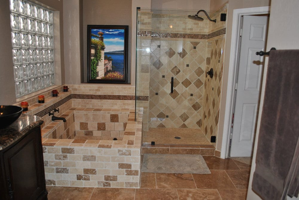 Bathroom tile with a tile tub and shower
