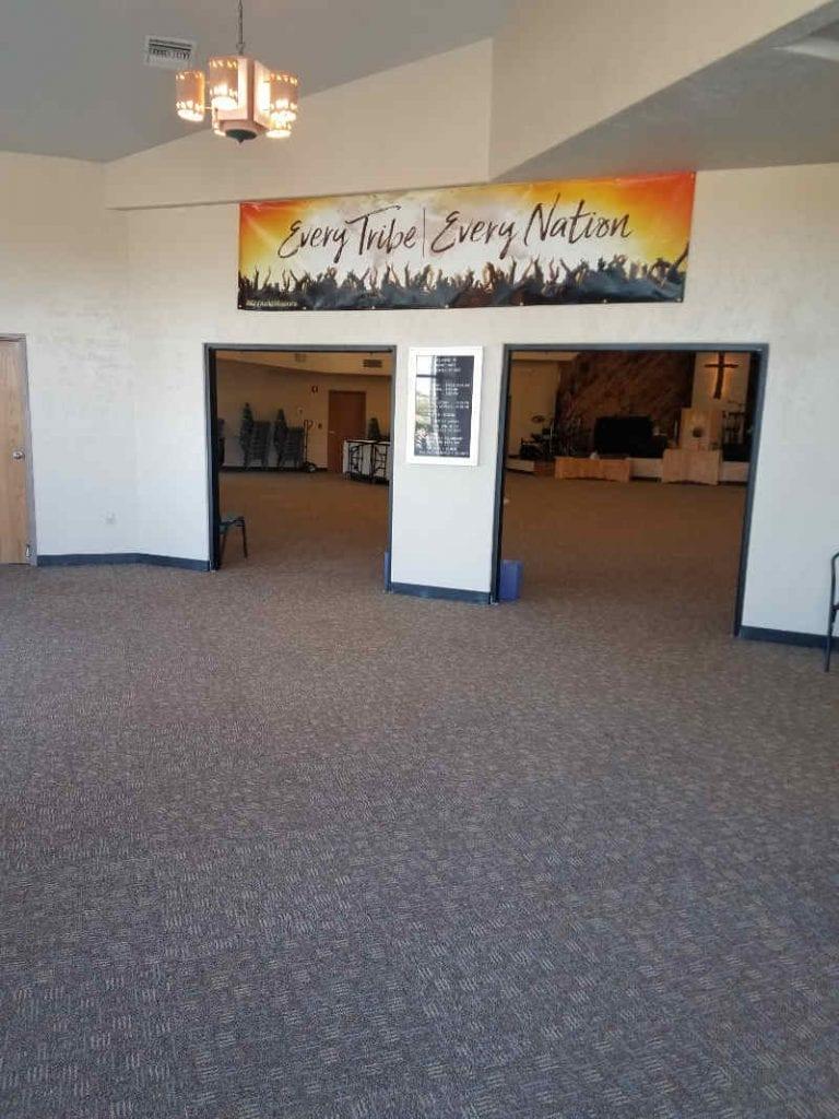 commercial time over pad on Mount Hope AG church lobby floor