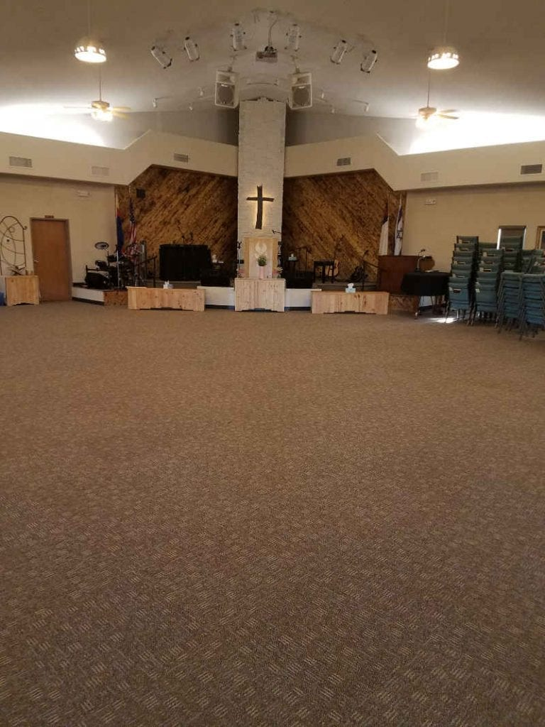 commercial time over pad on Mount Hope AG church main floor