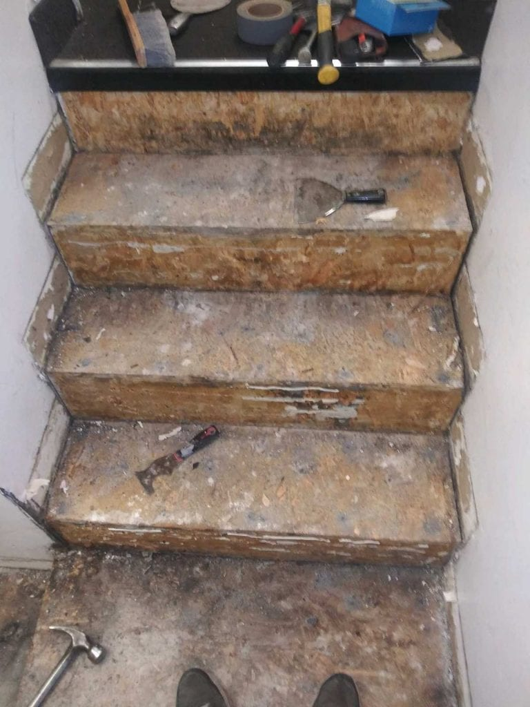 Stairs with the rubber treads removed