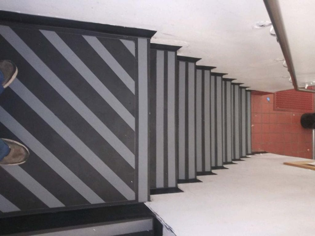 Another view of the finished stairs with safety strips