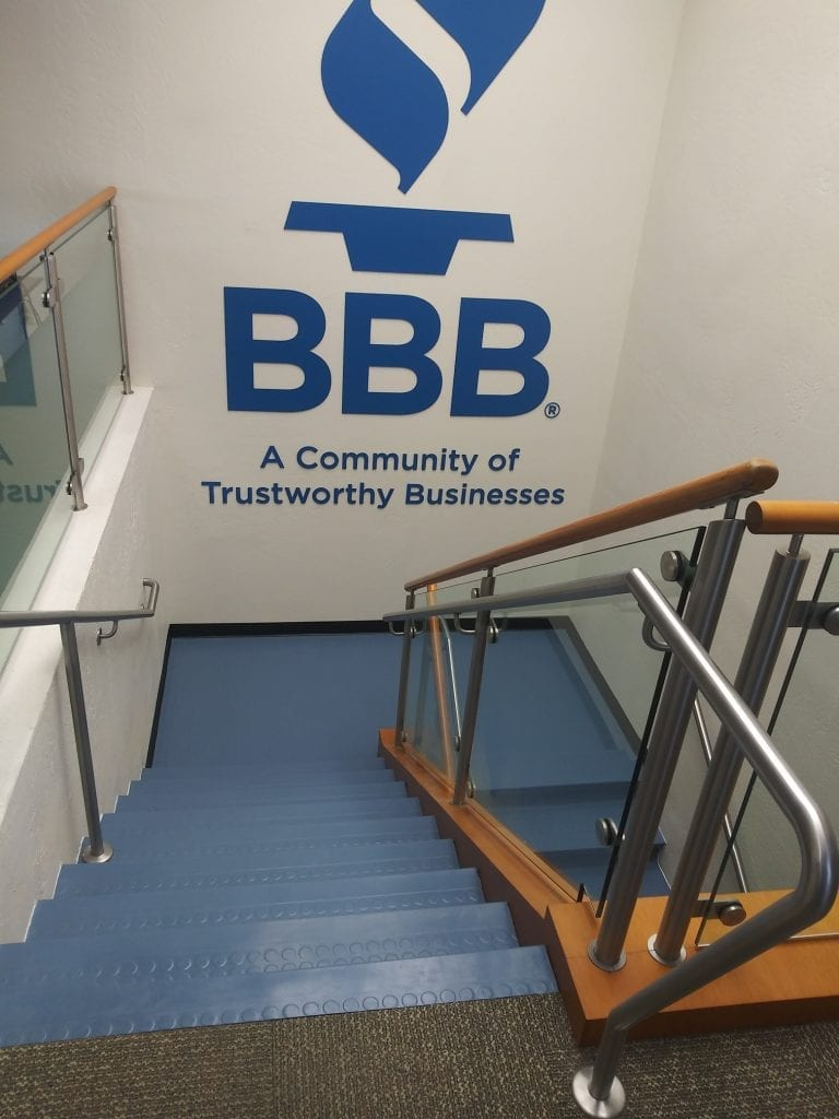 New rubber stair treads at the Phoenix Better Business Bureau office matches the decor perfectly