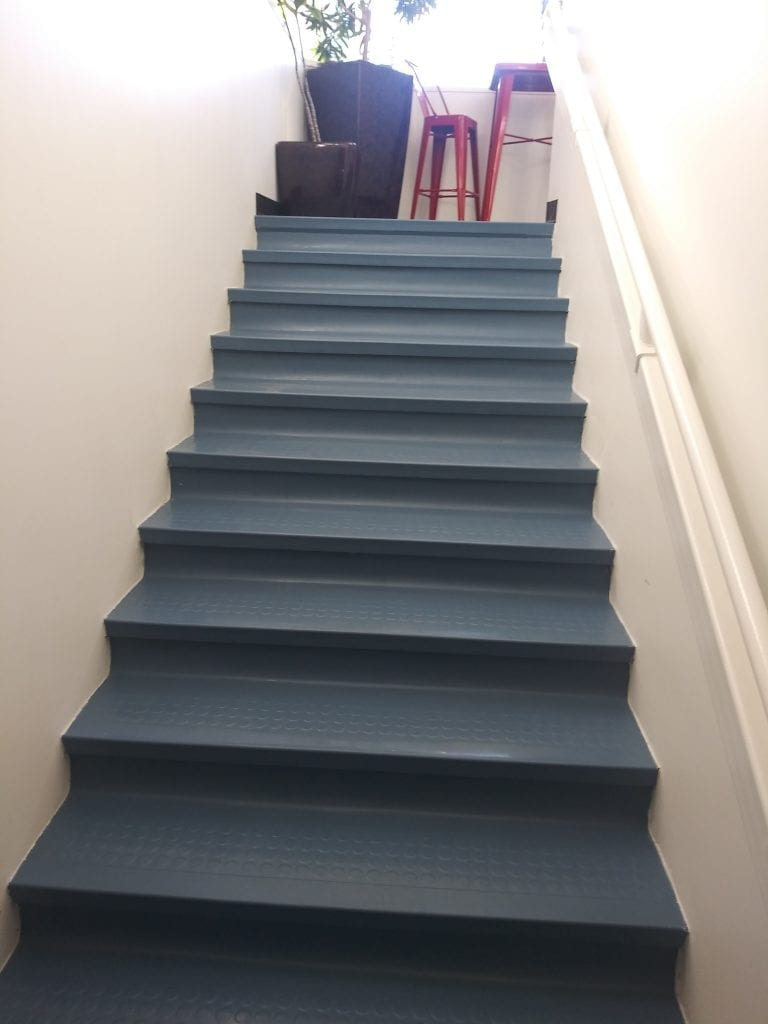 Safety is the first requirement to be met when choosing treads for office stairs.